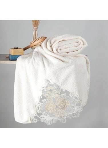 Nazik Home Carina Dantelli Banyo Vücut Havlusu (90 x 150 cm) Krem